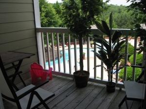 kleiner Balkon mit neuen Plastikpflanzen:)